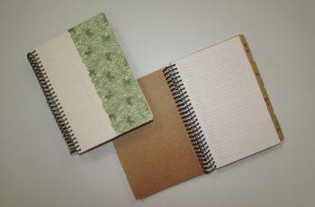 Foto de dois cadernos, um aberto e outro fechado