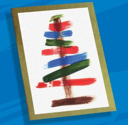 Arte com cartão com ilustração abstrata de uma árvore de natal feita com tintas coloridas