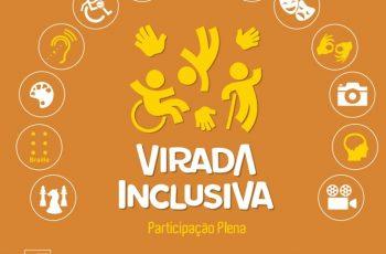 Arte com logo da Virada Inclusiva, com ícones de diversos sobre a programação
