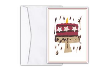 Cartão com colagem lúdica de um bolo de aniversário com estrelas rosas nas laterais