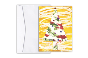 Cartão com arte abstrata de uma árvore de natal em fundo amarelo