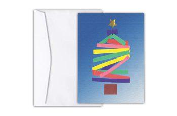Cartão com arte lúdica de uma árvore de natal formada por tiras coloridas de diversos tamanhos