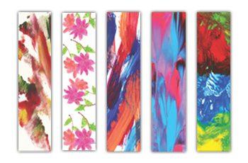 Cinco marca-páginas com artes diversas