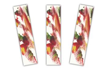Foto com três marcadores de página com arte abstrata feita com tintas coloridas