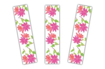 Foto de 3 marca-páginas com ilustrações de flores cor de rosa